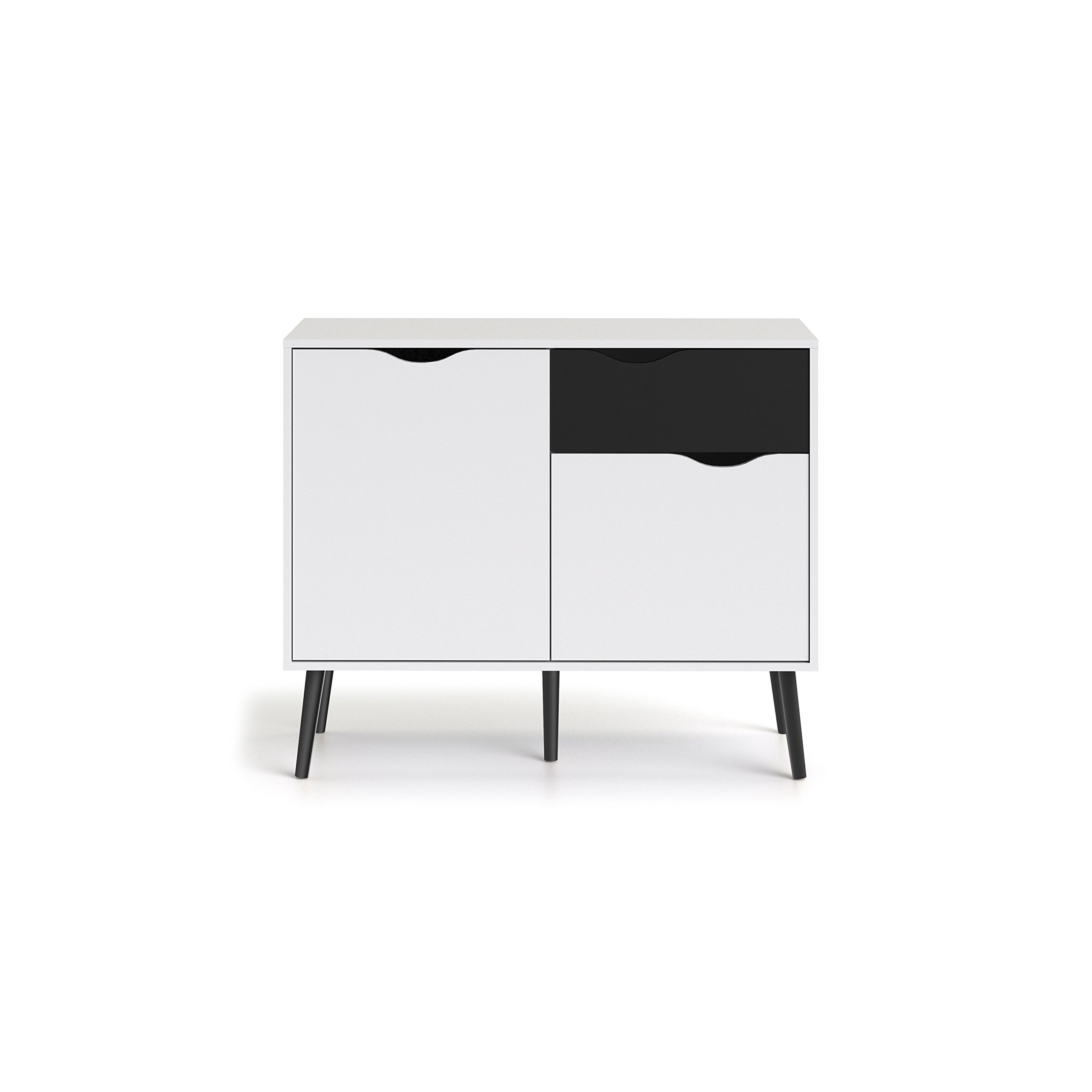 Tvilum 7538749gm Diana Sideboard with 2 Doors and 1 Drawer, White/Black Matte