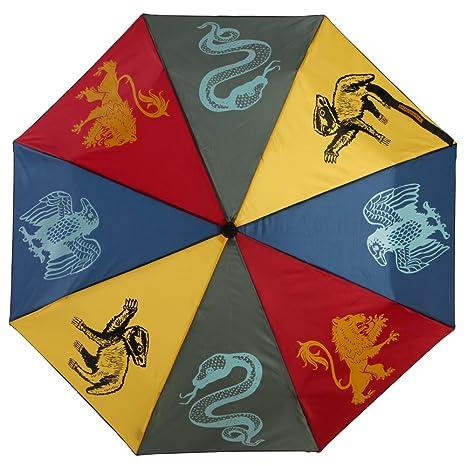 Oficial Harry Potter Hogwarts House crestas paraguas plegable - regalo HP