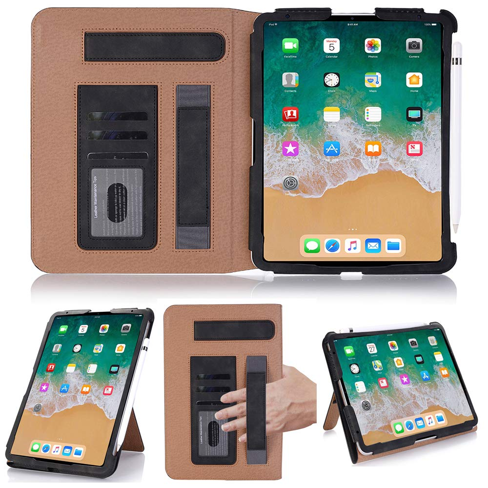 Book Style Protective Case for Air 2,INorton Air 2 Stand Smart Cover with Handstrpe Card Slots,Slim Shockproof Sleeve PU Leather Compatible with iPad Air 2