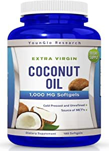 Coconut Oil Capsules - 180 Extra Virgin Softgels 1000 mg - Great Pills for Hair, Skin, Energy and Weight Management (1 Pack)