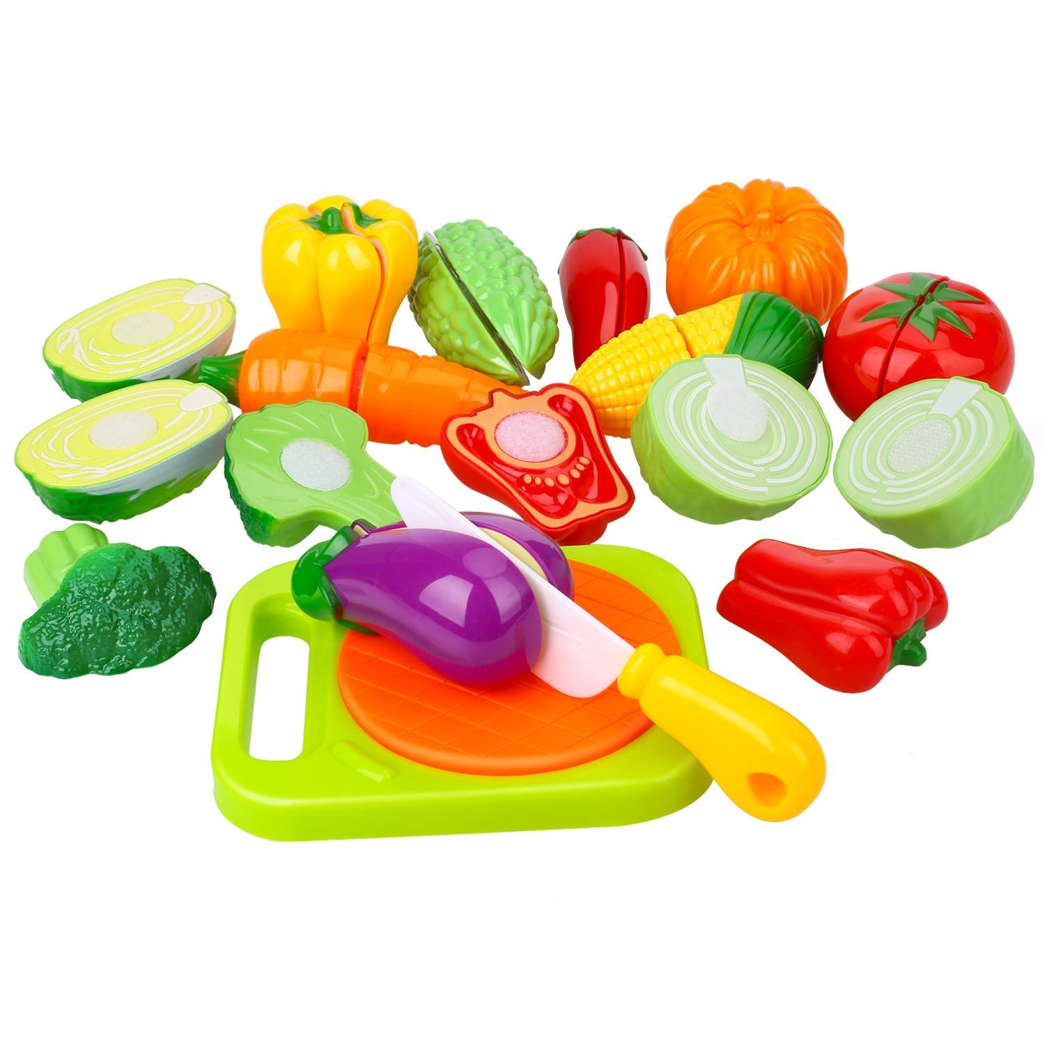 Play Food Cutting Set for Kids Kitchen Play Game with Plastic Velcro Vegetables Cutting Board Set and Apron by Peradix