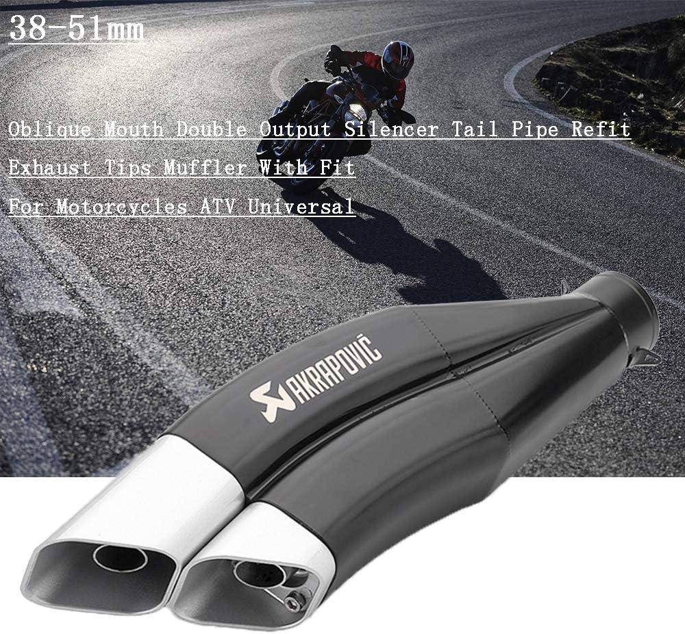 Dirt Pit Bike Scooter Refit Universal,A EDW Moto Pot d/échappement Silencieux 51mm Oblique Double Sortie Moto Silencer Tailpipe modifi/é Amovible DB Killer