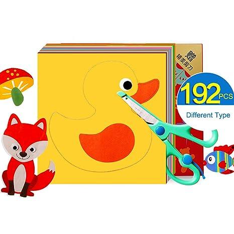 Amazon Com 192pcs Cute Pattern Diy Paper Cutting Hand Craft Kids