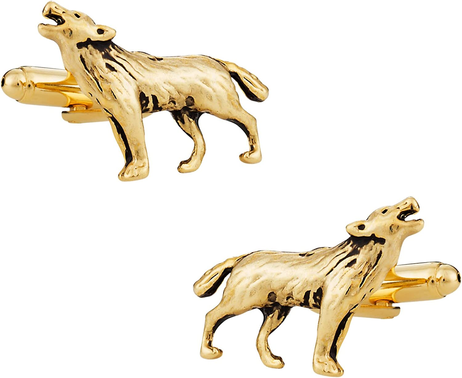 Cuff-Daddy Howling Lone Wolf Gold Cufflinks with Presentation Box