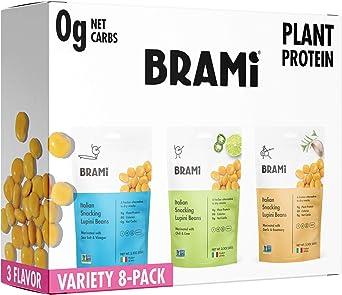 BRAMI Lupini Beans Snack, Paquete de variedad | 9 g de proteína vegetal, 0 g de carbohidratos netos | 2.3 oz (paquete de 8) | Vegano, Vegetariano, ...
