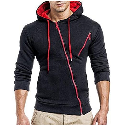 Amazon.com: JIANGTAOLANG Men Sweatshirt 3d hoodies Oblique zipper Hoodie Sweatshirt Slim Fit Sudaderas: Books