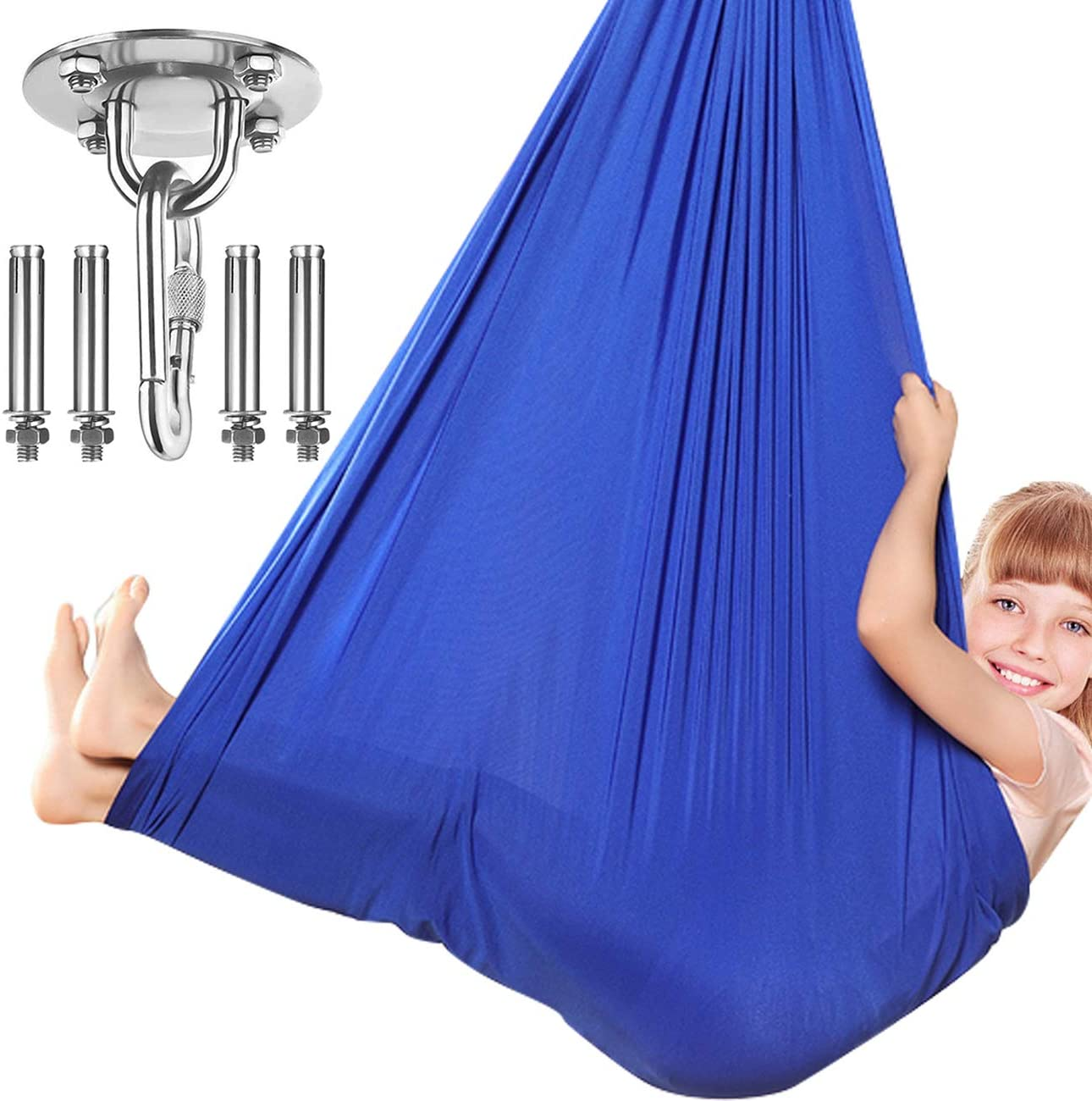 Dadoudou Sensory Swing Indoor, Swing Hammock Chair for Kids with Special Needs, Autism, ADHD, SPD, Aspergers, Sensory Integration, Snuggle Cuddle Pod Therapy Swing with Hardware Included Blue