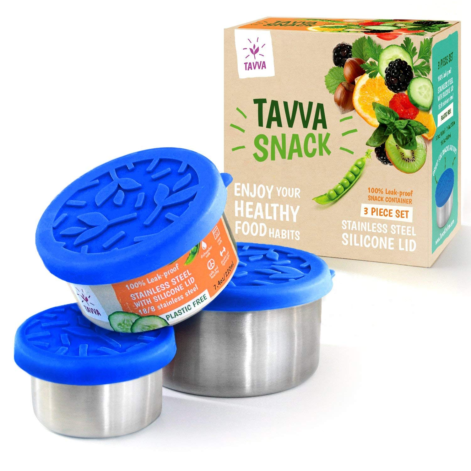 TAVVA Snack Containers Set - 3 Stainless Steel Food Containers with Food-Grade Silicone Lids - Portion Control Feature - Leak-Proof and Reusable - Also Suitable for Baby Food and Spice Storage