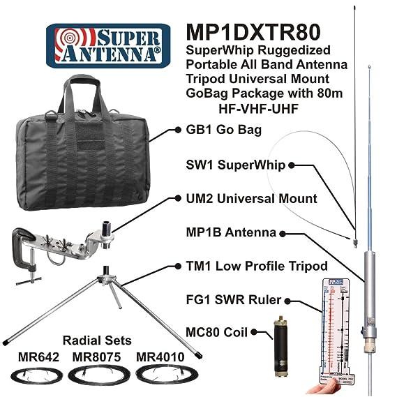 Super antena mp1dxtr80 HF superwhip trípode todos banda 80 m MP1 antena con la abrazadera del soporte y bolsa de Go Ham Radio amateur: Amazon.es: ...