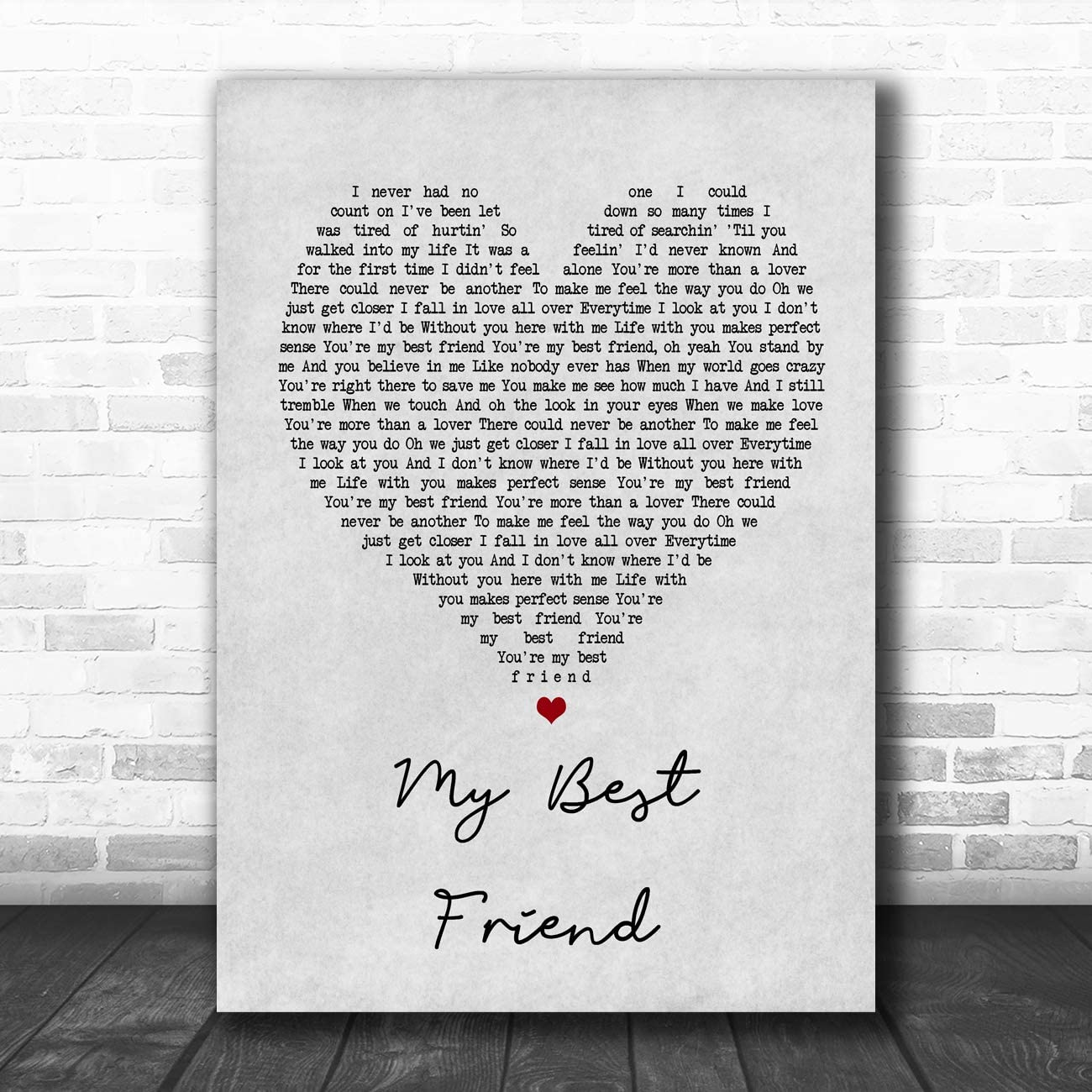 Tim McGraw My Best Friend Grey Heart Song Lyric Quote Print