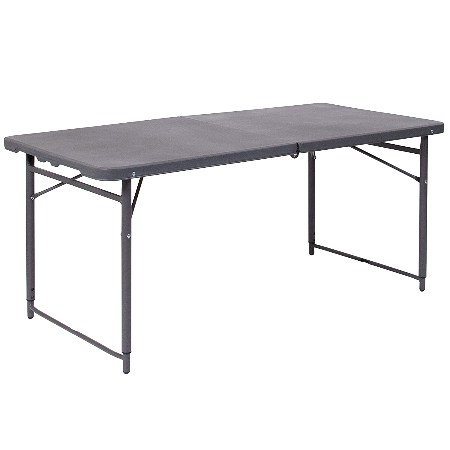 Flash Furniture 23.5''W x 48.25''L Height Adjustable Bi-Fold Dark Gray Plastic Folding Table with Carrying Handle