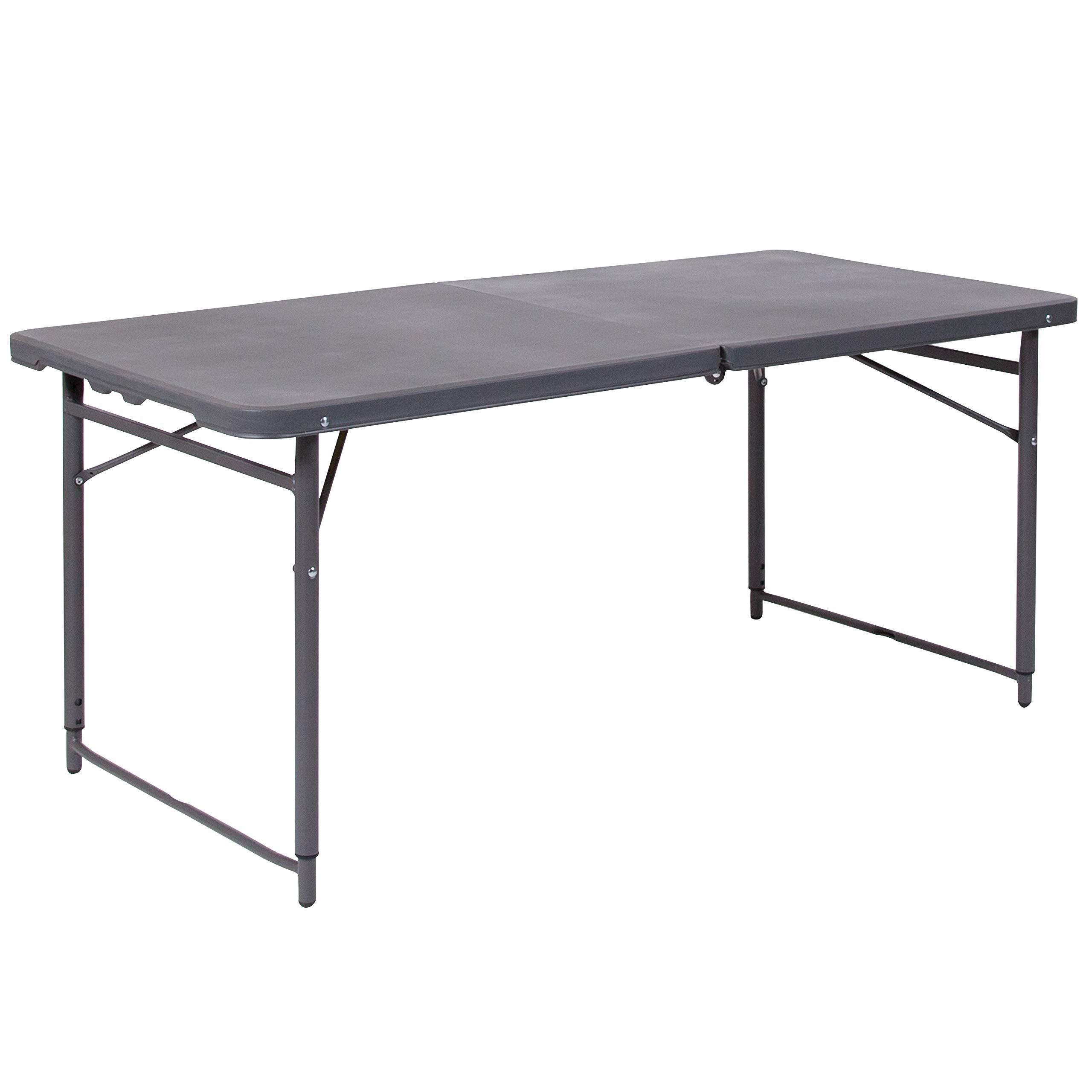 Flash Furniture 23.5''W x 48.25''L Height Adjustable Bi-Fold Dark Gray Plastic Folding Table with Carrying Handle