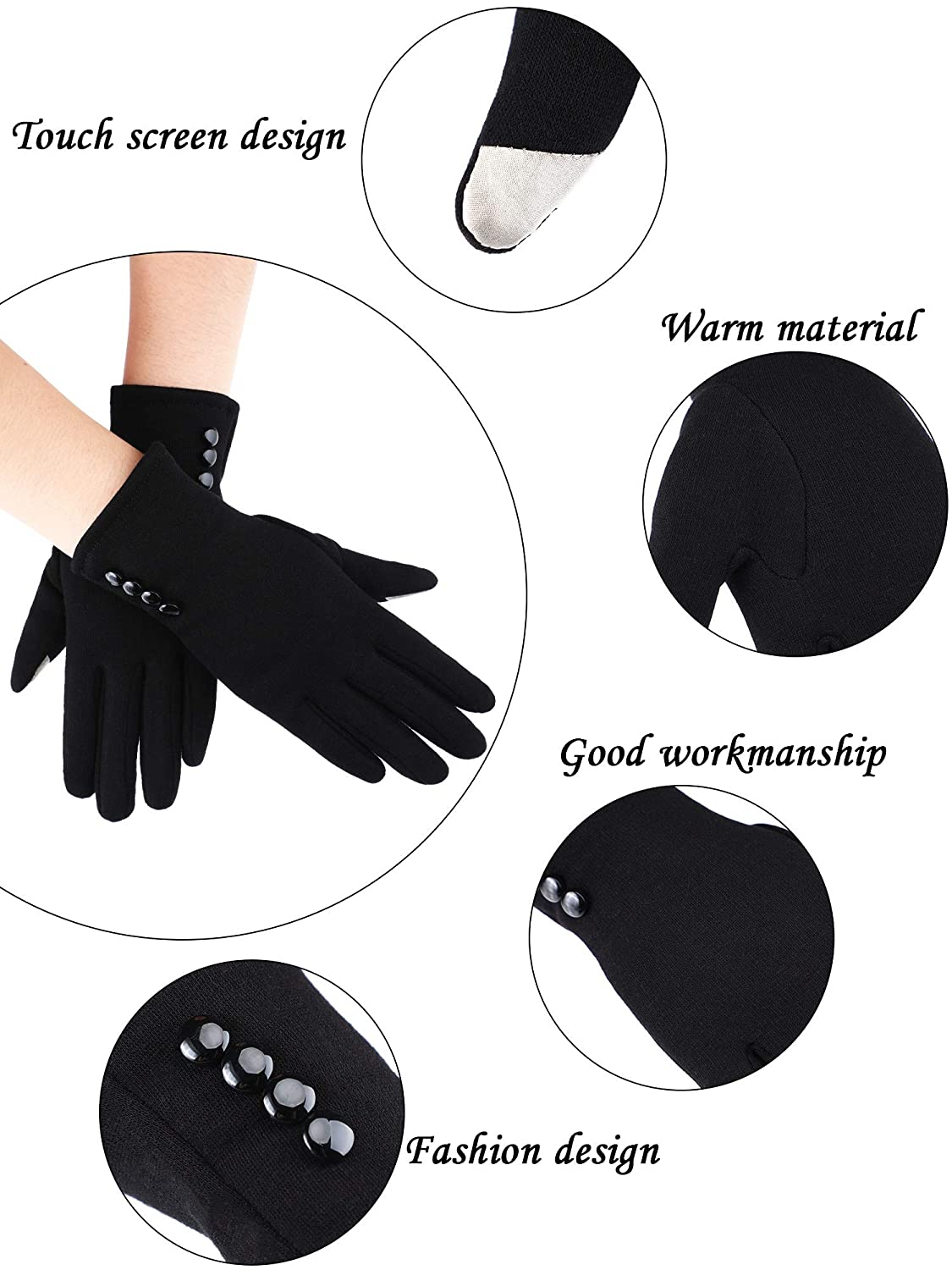 3 Pairs Winter Touchscreen Gloves Warm Windproof Texting Gloves for Women Girls
