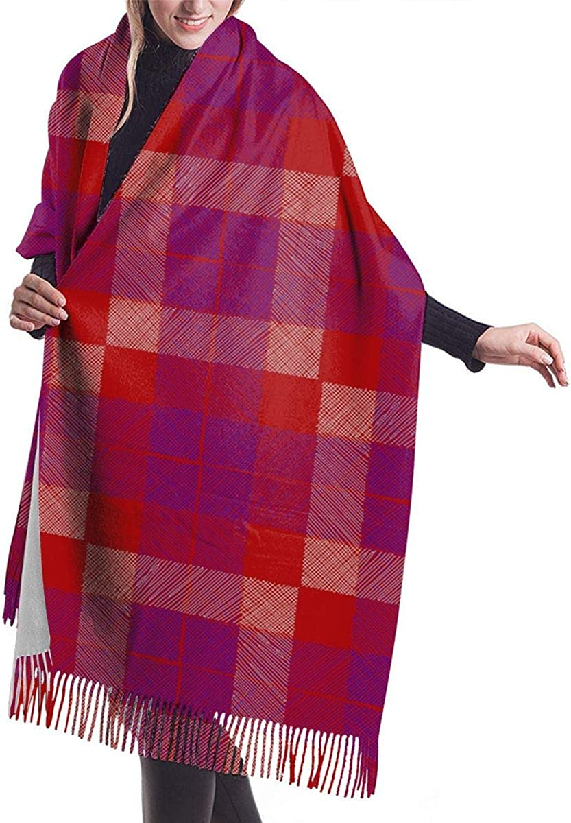 Red Blue Plaid Cashmere Scarf Shawl Wraps Super Soft Warm Tassel Scarves For Women Office Worker Travel