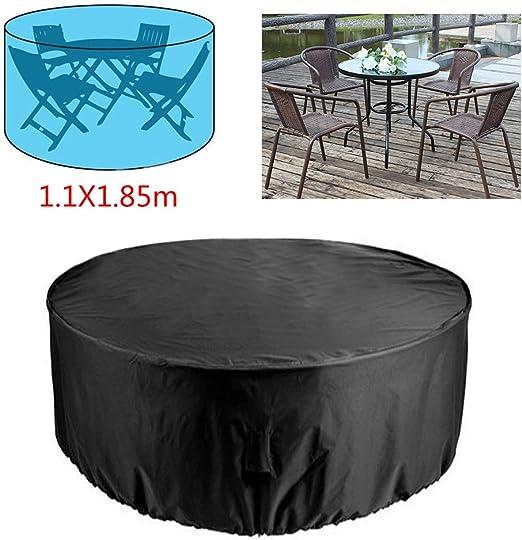 RUILASA Juego de funda redonda para mesa de patio, tamaño mediano, resistente y duradero, alta calidad, impermeable, UV, funda para muebles – negro (4 asientos) 1, 1 x 1, 85 m: Amazon.es: Jardín