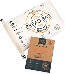 Organic Cotton Bread Bag - Reusable, Premium Bread Bag - Bakery Supplies and Food Storage Solutions - 100% Recyclable and Sustainable - Zero Waste, Vegan Friendly