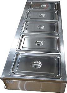 INTBUYING 5-Pan Restaurant Steam Table Bain-Marie Buffet Food Warmer