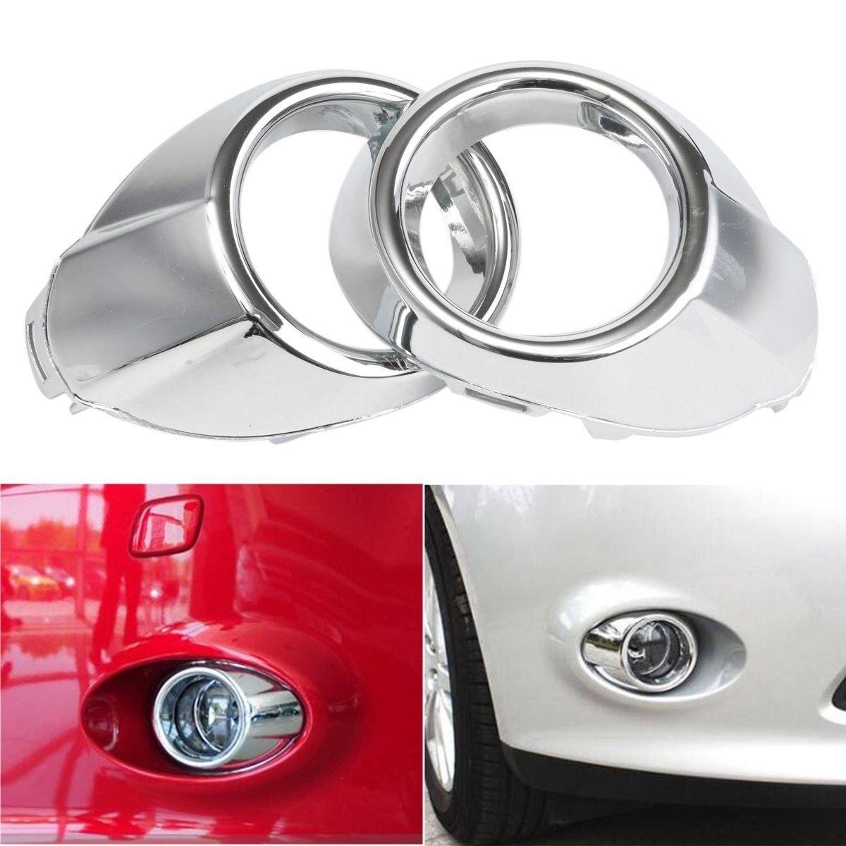 YUK 2 For Chrome Front Fog Light Lamp Cover Bezels Trim For Ford Focus 2012-2014