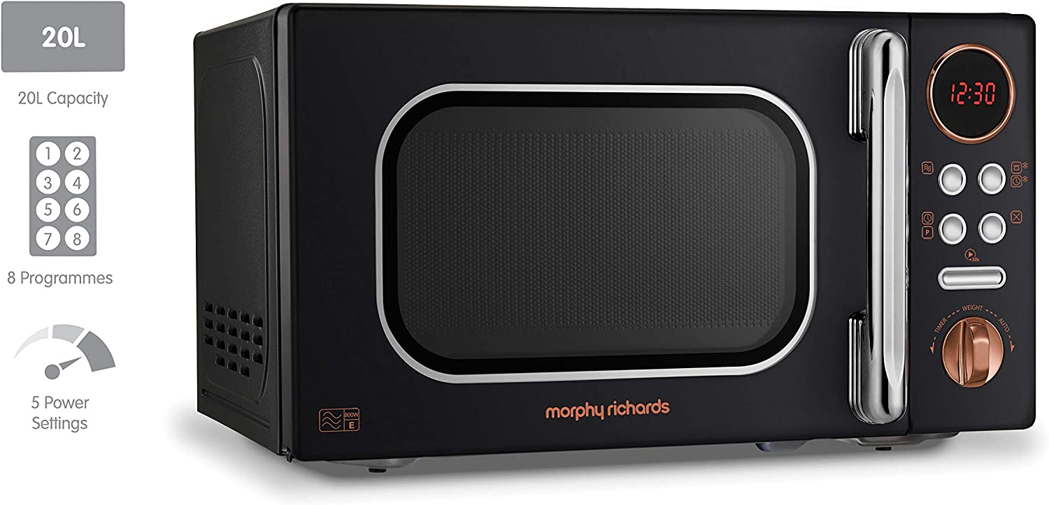 Morphy Richards Microwave Accents Colour Collection 511501 20L Digital Solo Microwave Cream Black / Gold