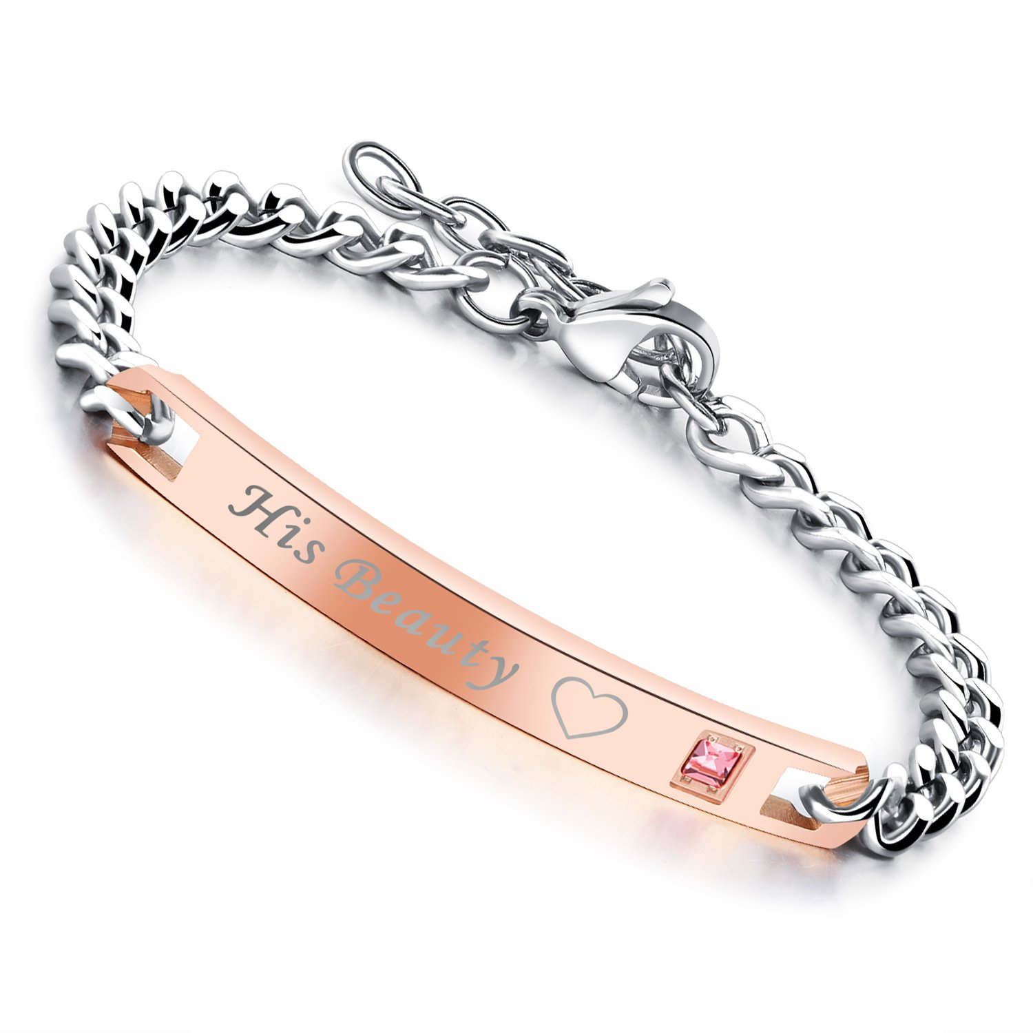 fafd3306ce Flongo His Hers Couples Stainless Steel Beauty Beast Valentine Anniversary  Wedding Matching Bracelet, Engagement Promise Gift Bracelet, Her Beast His  Beauty ...