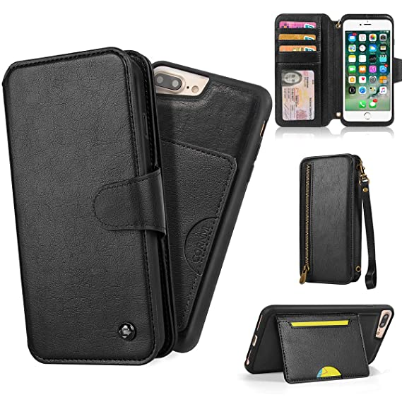 release date fa2d7 0126d CORNMI iPhone 7 Plus Wallet Case, iPhone 8 Plus Case Wallet, Detachable  Case Wallet with Card Holder, Kickstand, Mirror, Wrist Strap, and Shoulder  ...