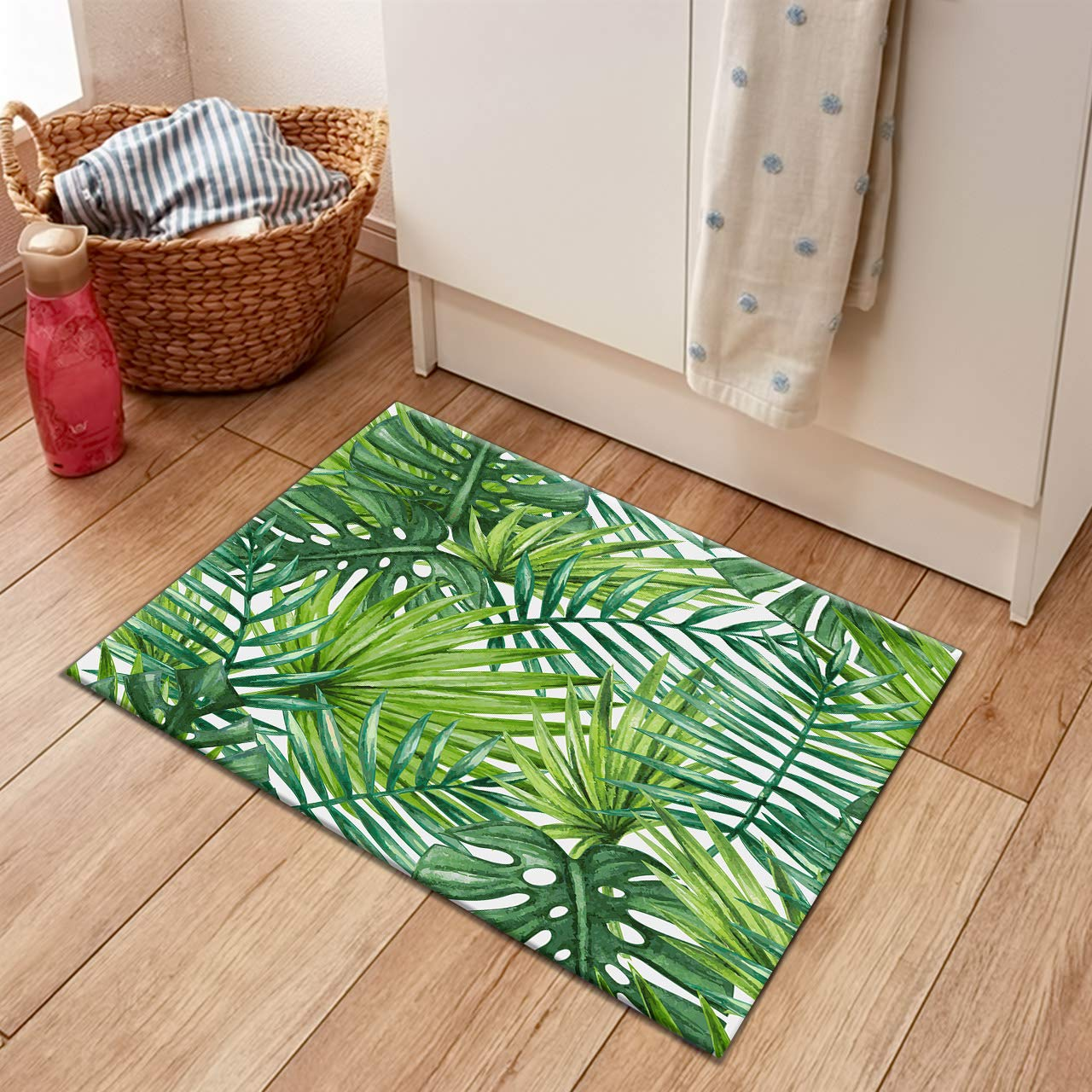 HVEST Green Palm Leaves Area Rugs Tropical Forest Carpet Non-Slip Doormat for Living Room Bedroom Kitchen Floor Mat,(1'8''x2'7'')