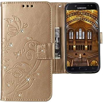 CLM Tech kompatibel mit Samsung Galaxy J7 2017 Hülle, Tasche aus Kunstleder mit Strass Steinen, PU Leder Tasche Lederhülle, Schmetterlinge Blumen Gold