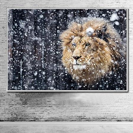 NIMCG Moderno león Blanco y Negro Animal Arte de la Pared ...