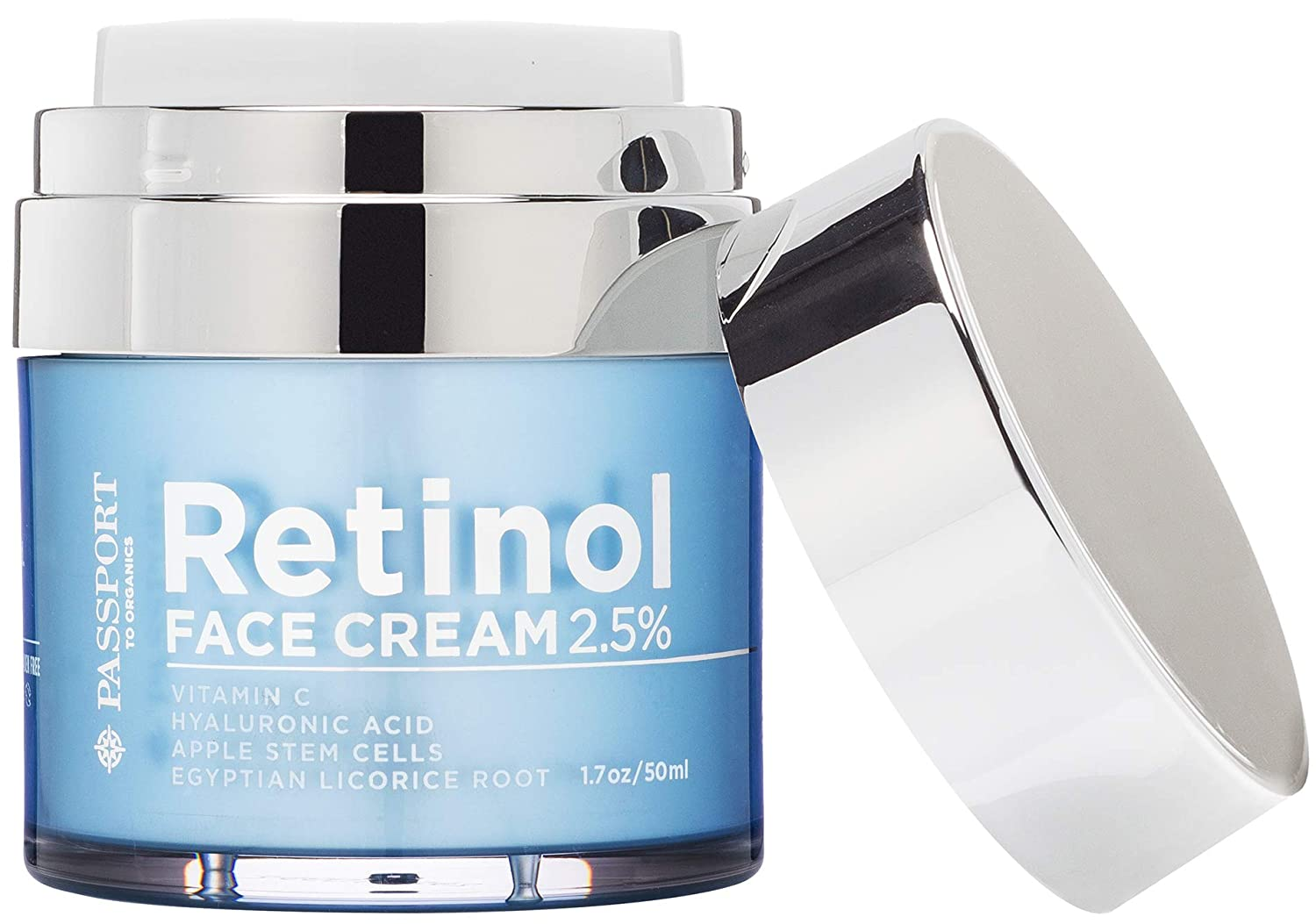 Passport to Organics Retinol 2.5% High Potency Face Cream - Anti-Aging Cream - Organic Moisturizing Cream with Vitamin C, Hyaluronic Acid & Essential Oils - Retinol Moisturizer for Dry Skin - 1.7oz