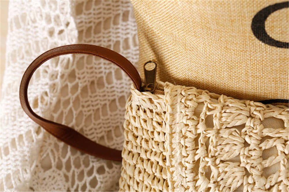 qiulv Crossbody bolso de paja bolsos huecos Crochet mujeres ...