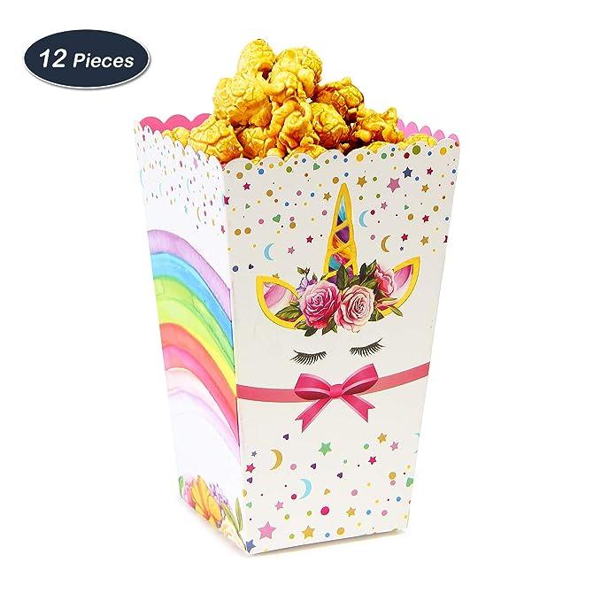 WERNNSAI Suministros de Fiesta de Unicornio Arcoiris Caja de Palomitas de Maíz Caramelo Caja de Papel de Comida Bocadillo para Cumpleaños Baby Shower 12 ...