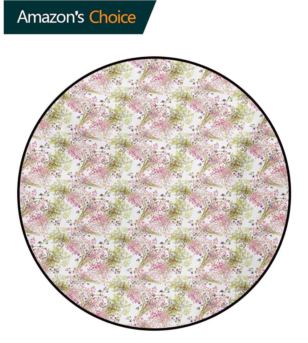 RUGSMAT Romantic Small Round Rug Carpet,Flower Pattern with Fresh Foliage Leaves and Petals Watercolor Style Illustration Door Mat Indoors Bathroom Mats Non Slip,Diameter-47 Inch Multicolor by RUGSMAT (Image #2)