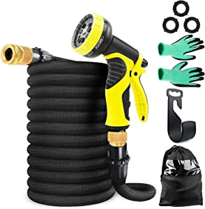 ABClife 50ft Garden Hose Expandable Hose, Lightweight Garden Water Hose with 9 Function Nozzle, Superior Strength 3750D/3-Layers Latex/Extra-Strong Brass Connectors,Durable Gardening Flexible Hose