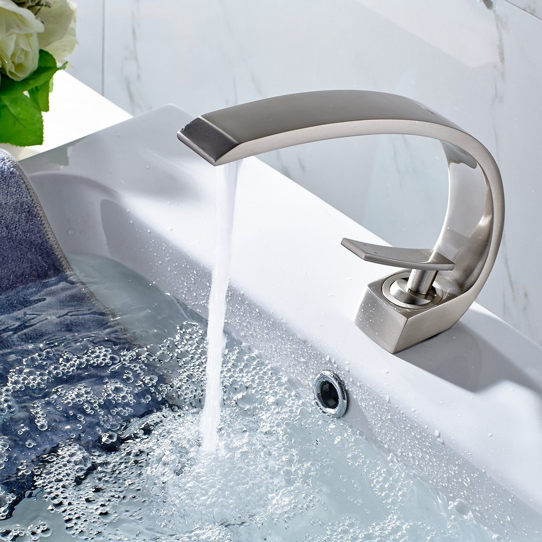 FLG Modern Solid Brass Single Handle Bathroom Sink Faucet Brushed ...