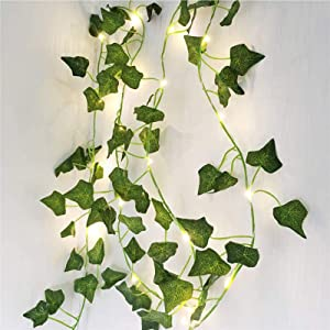Ivy Vine String Lights, Artificial Ivy Leaf Plants Led String Light Fairy Lights Garland Wreath,Hanging for Wall Party Wedding Room Home Kitchen Garden Indoor and Outdoor Decoration (32.8ft 100LEDs)