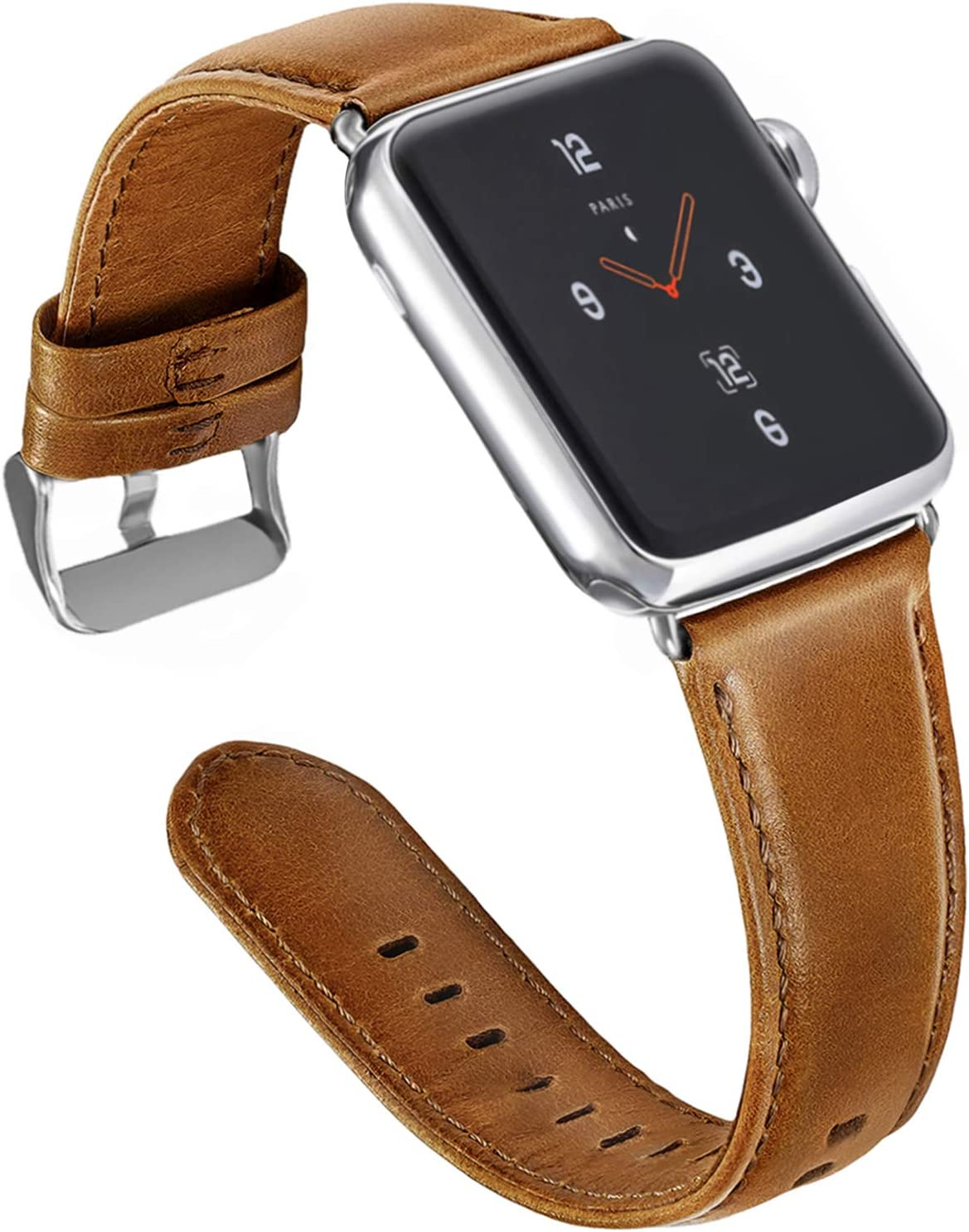 ALADRS Genuine Leather Watch Straps Compatible with Apple Watch Band 42mm 44mm, Wristbands Replacement for iWatch Series 6 5 4, SE (44mm) Series 3 2 1 (42mm), Brown