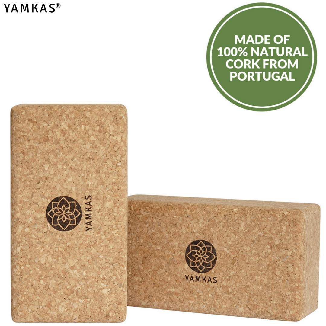 Yoga Brick Yamkas Yoga Block Cork Eco Friendly Bricks Made in Portugal High Density Yoga Blocks Essential Yoga Equipment