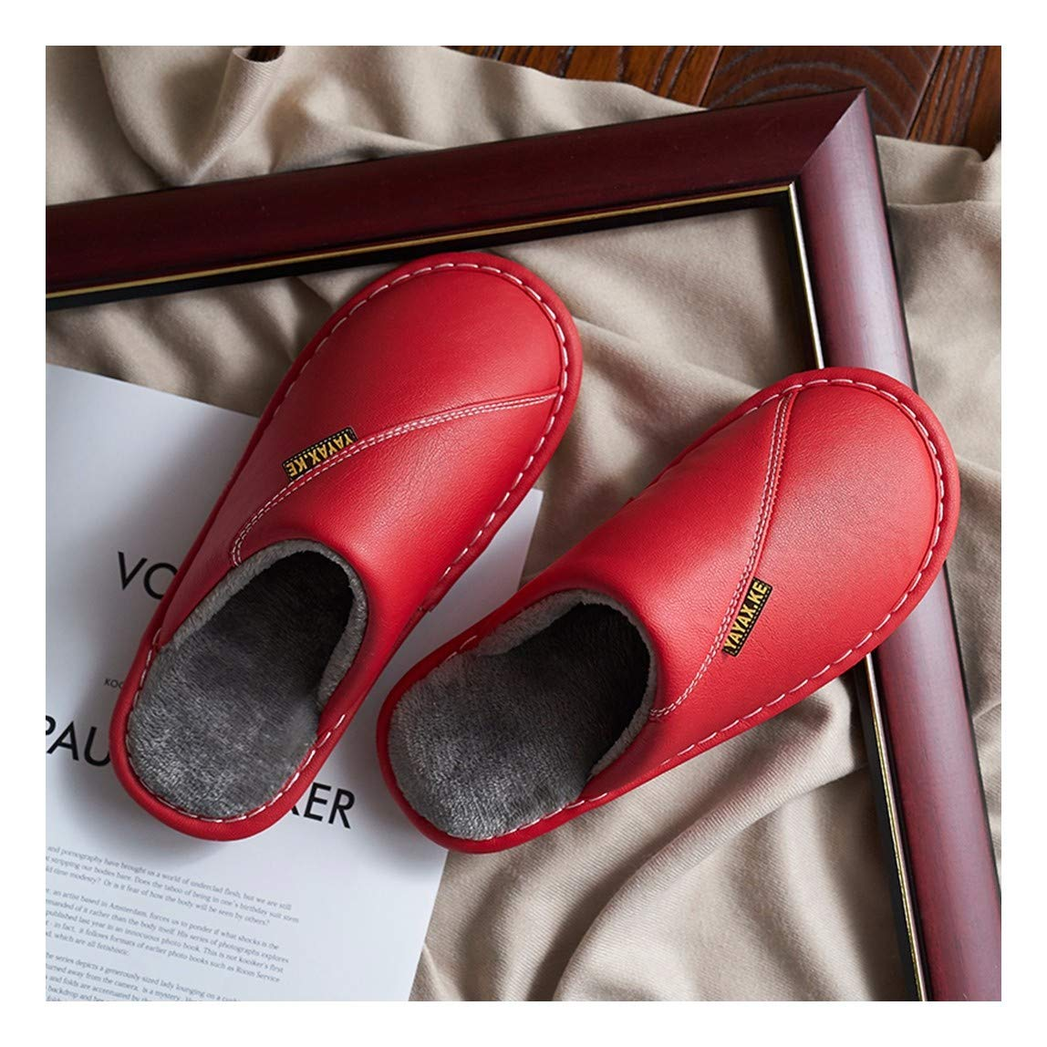 OMFGOD Slippers Femmes Hommes PU Chaussons Hiver Home Piscine Chaud Non-Slip Imperméables Étage Chaussures Amoureux Silencieux 38-39 Rouge Rouge