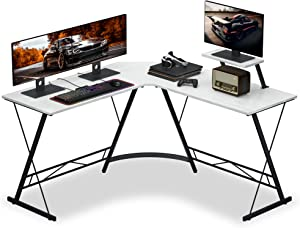 """Numenn L Shaped Desk Gaming L Shaped Desk, 51"""" L Shape Corner Computer Desk, Gaming Desk Table with Large Monitor Riser Stand for Home Office, Sturdy Writing Workstation, Office Desk with Shelf, White"""