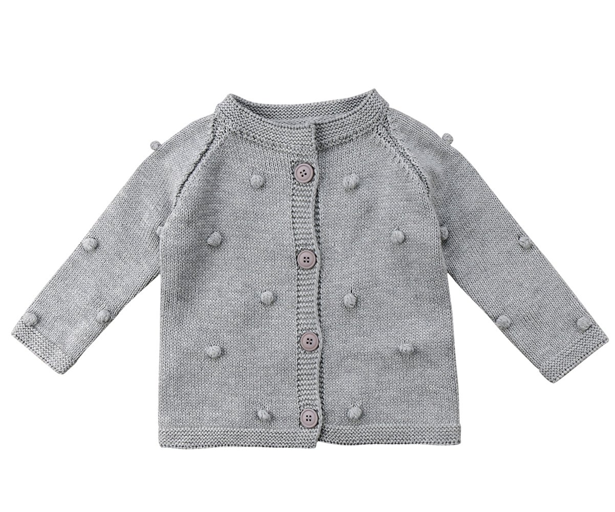 Kids Little Baby Girls Long Sleeve Pompom Buttons Cardigan Knit Sweater
