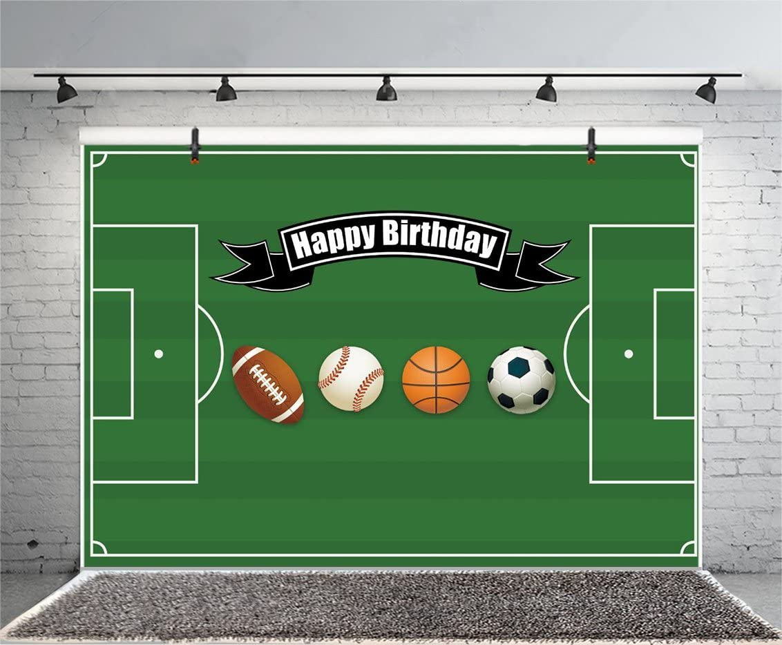 10x10FT Vinyl Wall Photography Backdrop,Boys Room,Green Grass Soccer Background for Baby Birthday Party Wedding Studio Props Photography