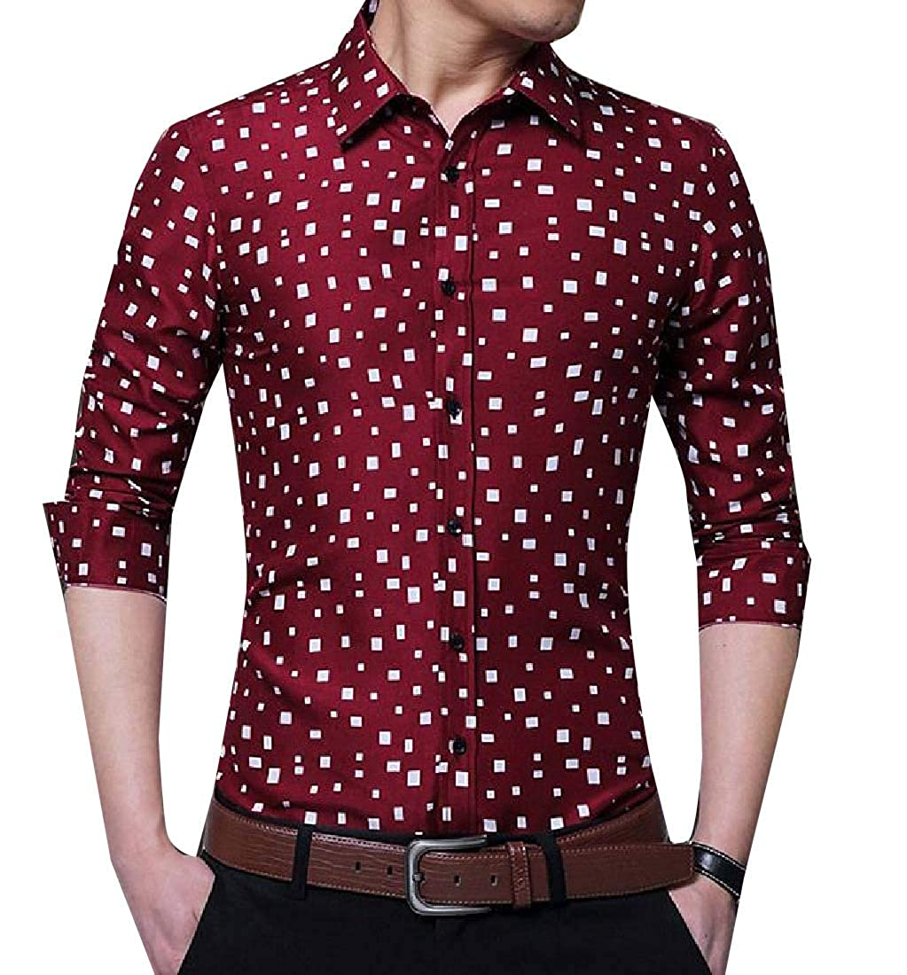 YUNY Men Floral Printed Casual Loose Fit Long Sleeve Buttoned Shirts Wine Red L