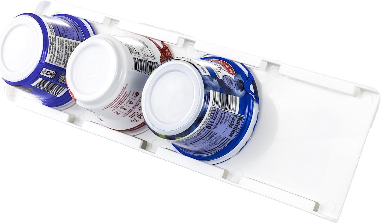 Sliding Greek Yogurt Refrigerator Organizer   Peel & Stick   Space Saving   No Hardware Required   2 Pack   White Color