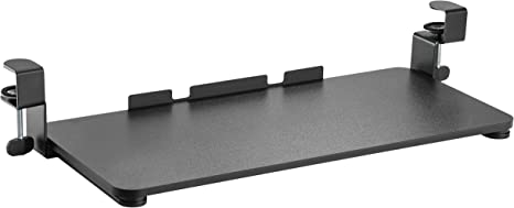 RICOO CZ0700 Bandeja Teclado Deslizante Extensible Debajo Escritorio Extraible Bajo Mesa con guias Soporte tastatura PC Keyboard Tray Negro