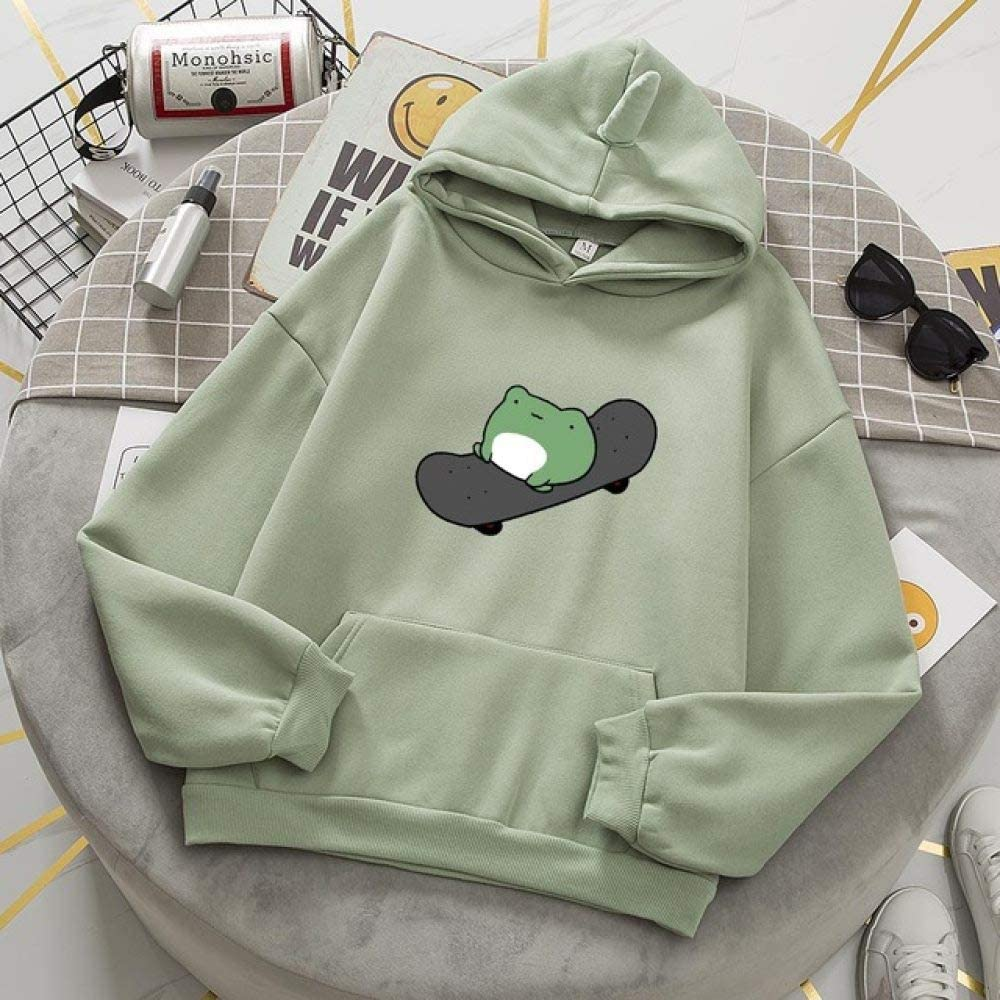 AFASSW Hoodie With Cute Skateboard Frog Hoodie Dill Thick 90S Aesthetic Frog Clothes Girls Sweatshirt Oversize Plus Size Hoodies For Teen Girls Oversized Teenagers