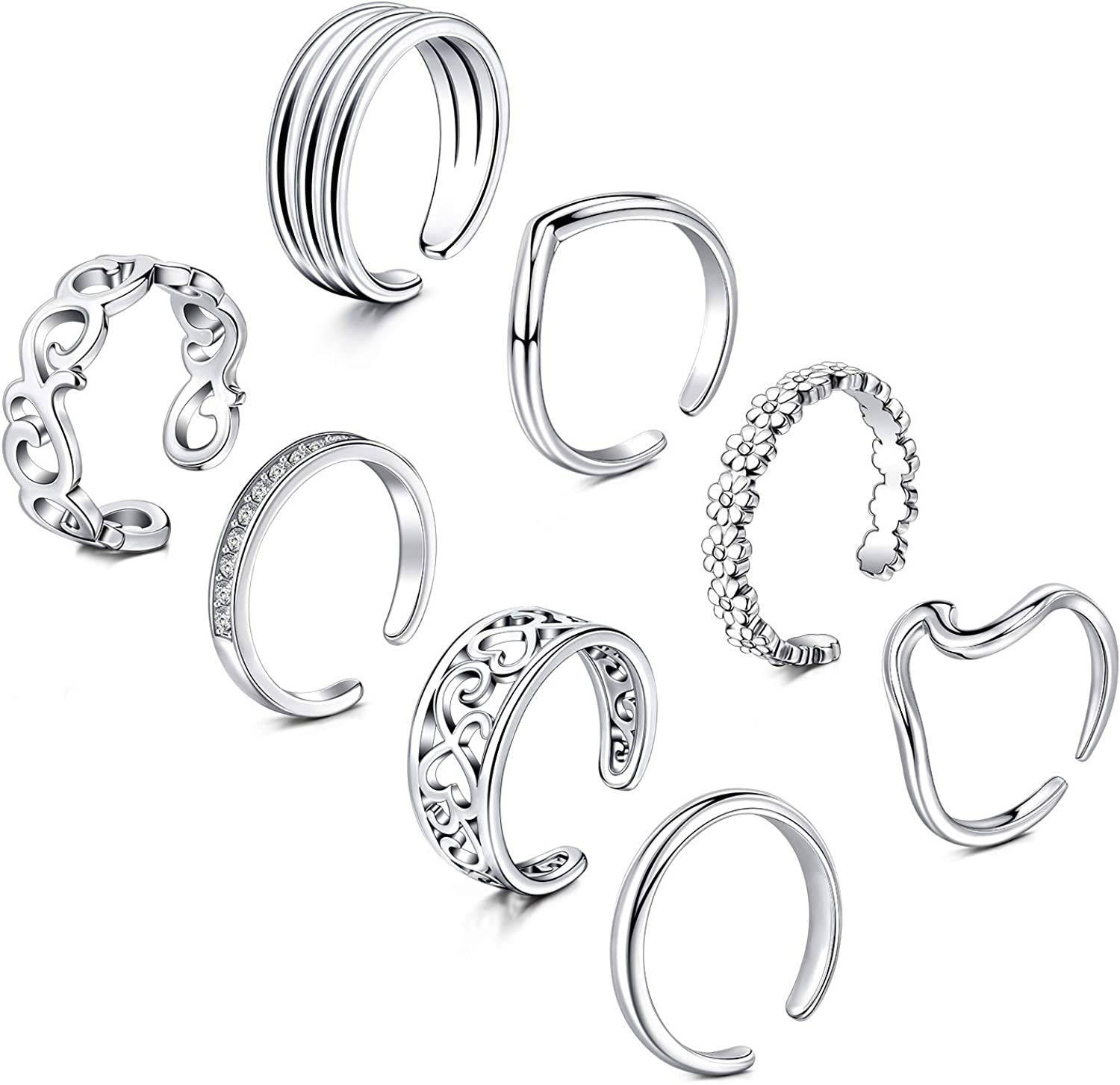 Briana Williams Adjustable Toe Rings for Women Summer Beach Hypoallergenic Open Toe Ring Set Finger Tail Rings Foot Jewelry