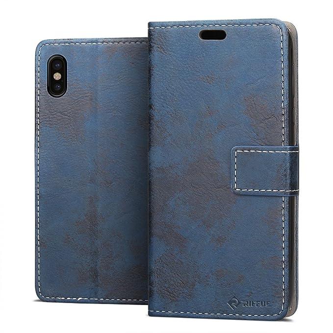 2 opinioni per Custodia iPhone X, Riffue® Apple iPhone 10 Case Fine PU Cuoio Flip e Silicona