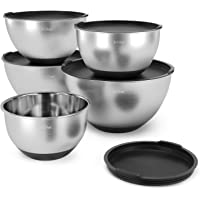 Set-of-5 X-Chef Stainless Steel Mixing Bowls Set with 5 Lids and Anti-Slip Bottom, Measurement Marks, Non-Slip, Durable