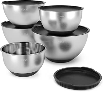 Set-of-5 X-Chef Stainless Steel Mixing Bowls Set