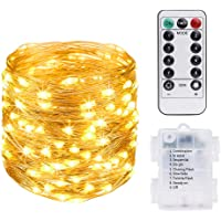 Vicloon Guirnaldas Luces LED Exterior, Cadena de Luces LED Impermeable 10M/100 LED, Blanco Cálido Interiores o…